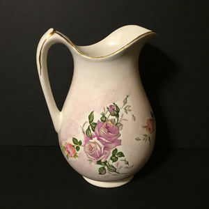 Other - Vintage Large Pitcher Vase Purple & Pink Roses 11""